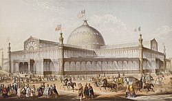 New York Crystal Palace, Architekt Karl Gildemeister. Farbiger Öldruck von George Baxter, London, 1853