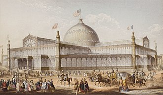 "New York Crystal Palace - New York Crystal Palace designed by Karl Gildemeister and Georg Carstensen. The image is an ""oil-color"" plate by George Baxter, London, dated 1 September 1853"