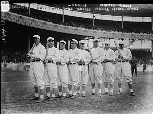 Baseball - The NL champion New York Giants baseball team, 1913. Fred Merkle, sixth in line, had committed a baserunning gaffe in a crucial 1908 game that became famous as Merkle's Boner.