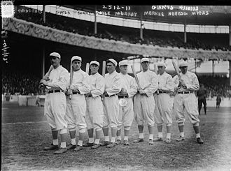 History of baseball - The NL champion New York Giants baseball team, 1913. Fred Merkle, sixth in line, had committed a baserunning gaffe in a crucial 1908 game that became famous as Merkle's Boner.