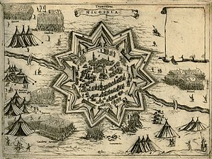 Ottoman–Venetian War (1570–1573) - Map of the Siege of Nicosia, by Giovanni Camoccio, 1574