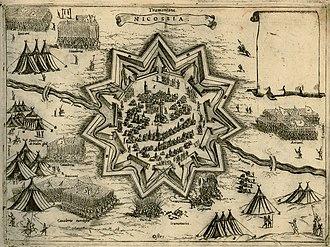 Ottoman–Venetian War (1570–1573) - Map of the Siege of Nicosia, by Giovanni Camoccio, 1574