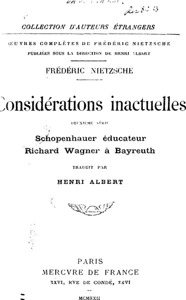 File:Nietzsche - Considérations Inactuelles, II.djvu