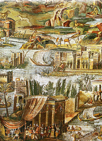 Nile mosaic of Palestrina - A detail of the mosaic.