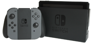 Docking station - The Nintendo Switch is a tablet-like hybrid video game console and has a docking station where the main Switch unit can be placed.
