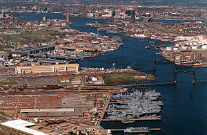 Norfolk Naval Shipyard - Aerial view of the shipyard looking north towards Norfolk