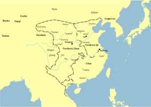 Emperor Jing of Western Liang - Map showing the location of Western Liang (as Liang) in 570
