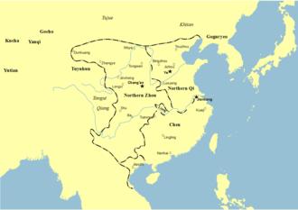Western Liang (555–587) - Western Liang and neighbors