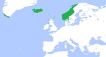 Carte des territoires sous domination norvégienne en 1265, y compris l'Islande et le Groenand