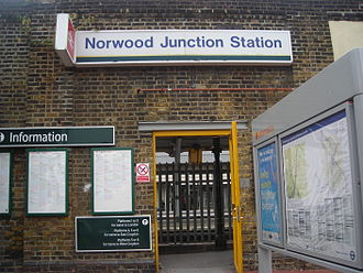 A215 road - The station entrance to Norwood Junction of Portland Road.