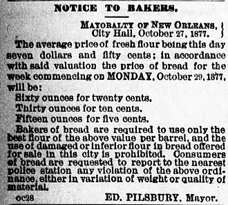 Edward Pilsbury - Notice to bakers regulating quality, size, and prices of bread from offices of Mayor Pilsbury, 1877