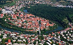 Novo Mesto with the Krka River from the air