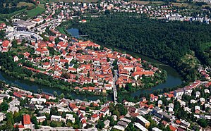 Novo Mesto - Novo Mesto with the Krka River from the air