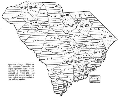 Nullification Controversy in South Carolina - Map VI.—Legislature of 1832, for and against convention.png