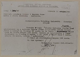 Jasenovac concentration camp - A report on the deportation of Travnik area Jews to Jasenovac and Stara Gradiška camps, March 1942