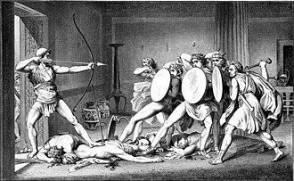 La strage dei pretendenti, disegno, 1882, Illustrazione da Gustav Schwab
