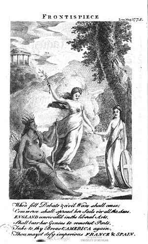 Peace symbols - An engraving from The London Magazine, January 1775, showing the Goddess of Peace bringing an olive branch to America and Britannia.
