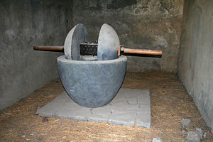 Olive oil - Olive crusher (trapetum) in Pompeii (79 AD)