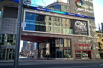 33 Dundas Street East in Toronto is a complex used by Citytv and Omni, two television networks are owned by Rogers Sports & Media, a subsidiary of Rogers Communications. Omni-City-33Dundas.jpg