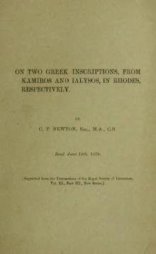 On two Greek inscriptions, from Kamiros and Ialysos, in Rhodes, respectively (1878).djvu