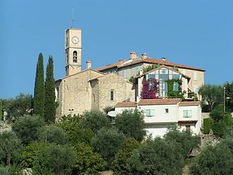 Opio, Alpes-Maritimes - A view of the church and surrounding buildings in Opio