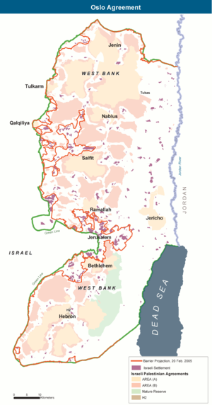 West Bank Areas in the Oslo II Accord - Map of the Areas. Red line: a projection of the route of the West Bank Barrier (20 February 2005).