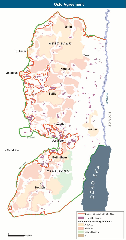 Мапа зон Західного Берегу в Ізраїлі