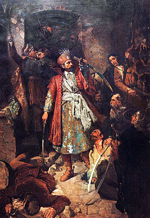Kingdom of Croatia (Habsburg) - Nikola Šubić Zrinski by Oton Iveković. The work depicts Croatian Ban Nikola Šubić Zrinski defending against the Ottomans at the Battle of Szigetvár
