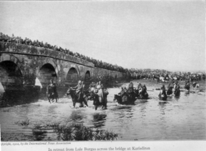 Battle of Lule Burgas - Image: Ottoman troops in retreat from Lule Burgas across the bridge at Karisdiran (1912)