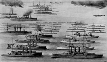 An illustration depicting the ships of the Ottoman and Greek fleets, including several large ships and numerous smaller vessels