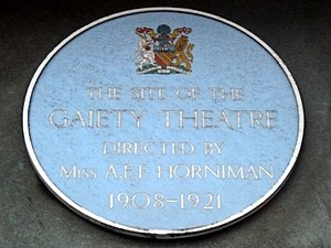 Gaiety Theatre, Manchester - Blue Plaque marking the site of the theatre.