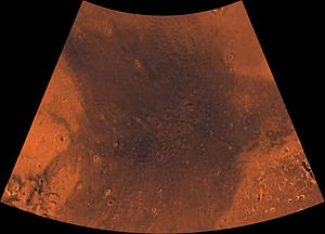 "Mare Acidalium quadrangle - Image of the Mare Acidalium quadrangle (MC-4). The large craters Lomonosov (far upper right) and Kunowsky (upper right) are easily seen. The famous ""face"" on Mars is located in the Cydonia Mensae area (bottom right)."