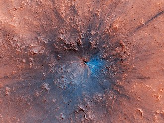 Newly formed impact crater (est 2016 - 2019). False blue color highlights exposed bedrock PIA23304-Mars-ImpactCrater-Sep2016-Feb2019.jpg