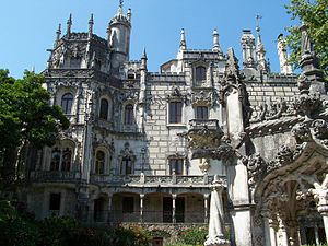 Quinta da Regaleira - The palace, as seen from the bridge over the lower gate.