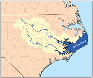 Tar River - A map of the Pamlico Sound watershed, including the Pamlico, Tar, and Neuse rivers.