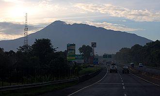 Mount Pangrango - Mount Pangrango (highest peak on the left) seen from Jagorawi Toll Road