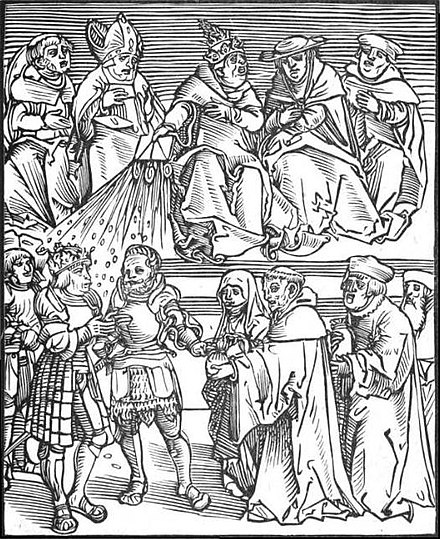 Antichristus, a woodcut by Lucas Cranach the Elder of the pope using the temporal power to grant authority to a generously contributing ruler PapalPolitics2.JPG