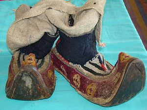 Munshi Aziz Bhat Museum of Central Asian and Kargil Trade Artifacts - Tradiotnal Ladakhi, Mongolian, Tibetan shoes - Local Name: Papu. Period: 17th century