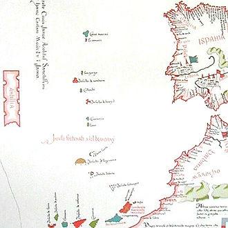 Antillia - 1455 map of Bartolomeo Pareto. Antilia is the large island on the western edge.