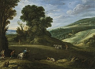 Paul Bril - Landscape with hunters, 1620