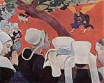 work of visual art: Paul Gauguin painting The Vision After the Sermon from 1888 nuns gathering around a small angel