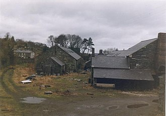 Felin Fawr Slate Works - Penrhyn Quarry workshops, Coed y Parc, at the former meeting point between the main line of the 2' gauge railway to Porth Penrhyn and the internal quarry railway system, 1973.