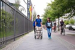 People getting around on the Ebertstraße sidewalk, Berlin.jpg