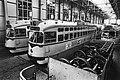 Personeel openbaar vervoer 5-daagse staking begonnen, stilstaande trams in een van de remises in Den Haag, Bestanddeelnr 931-4746.jpg
