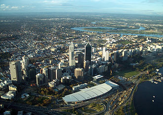 Electoral district of Perth - The southern and eastern parts of the electorate, as seen from the air.