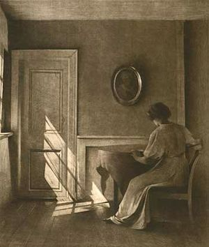 Peter Ilsted - Sunshine Falling on a Door, mezzotint in black, Vess Collection