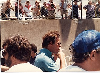 Peter Jennings - Peter Jennings (center, blue shirt) while in San Francisco in 1984.