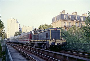 Un train de jonction de la gare du Nord à Paris-Gare-de-Lyon au niveau de  l avenue Daumesnil, en 1985. La Petite Ceinture ... 26eb655f334