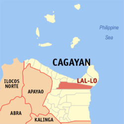 Map of Cagayan with Lal-lo highlighted