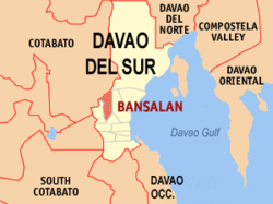 Map of Davao del Sur showing the location of Bansalan